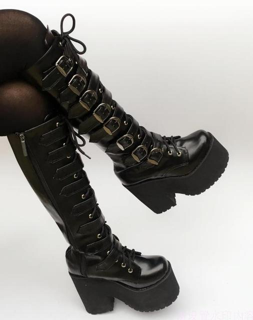 bbd9227c02f Japanese Harajuku High Platform Chunky Heel Cosplay Knee-High Boots Women  Black Leather Belt Buckle Gothic Punk High Boots Zip. Price