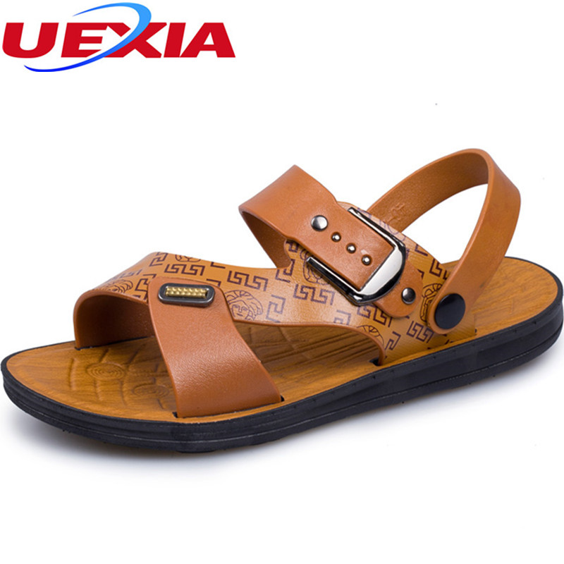 Cool Summer Sandals Leather Fashion Vintage Flat Heels Solid Beach Men Shoes Sewing Handmade Outdoor Casual Breathable Sandales