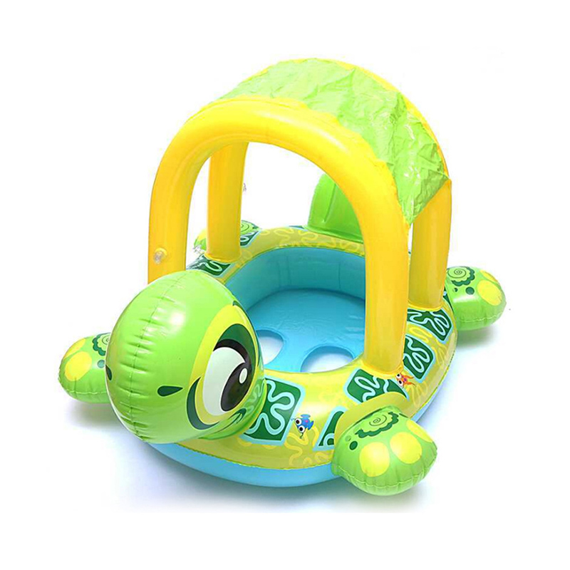 Cute Kids Baby Child Inflatable Tortoise Awning Swimming Laps Pool Swim Ring Seat Float Boat Water Sports