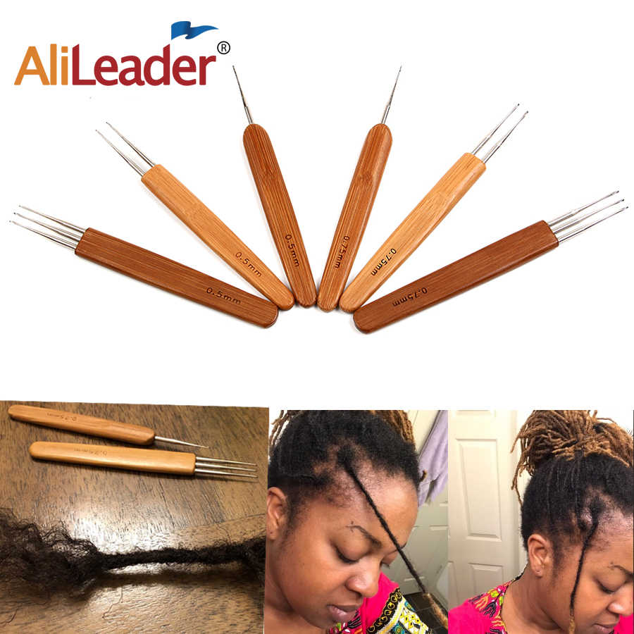Alileader gancho de ganchillo para Dreadlocks peluca aguja 1/2/3 gancho aguja herramienta de extensión de cabello trenzado 0,5 Mm /soporte para agujas de bambú de 0,75 Mm