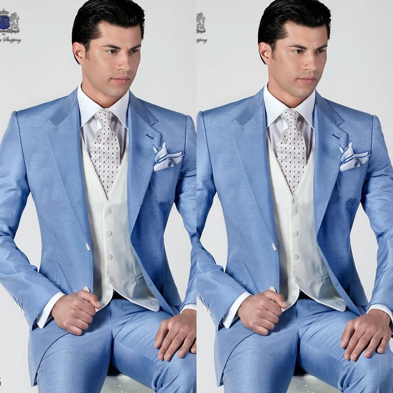 remise spéciale vente chaude en ligne magasiner pour les plus récents ᗑMens Costumes lumière ciel bleu hommes Smokings Veste + ...