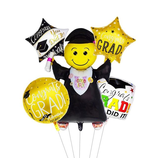 5pcs Graduation Balloons Graduation Gift Cartoon Globos Back To School Decorations Congratulation Graduation 2019 Doctor Balloon