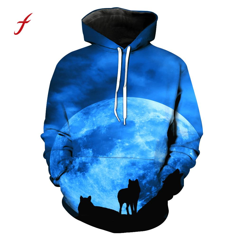 Unisex Couple Wolf 3D Printed Pullover Spring Fall Hooded Sweatshirt Tops Women Men Plus Large Size Harajuku Hoodies Clothes