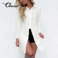 CELMIA Fashion Sexy Women Shirts 2017 New Style Long Sleeve Lapel Side Split Solid Blouse Ladies