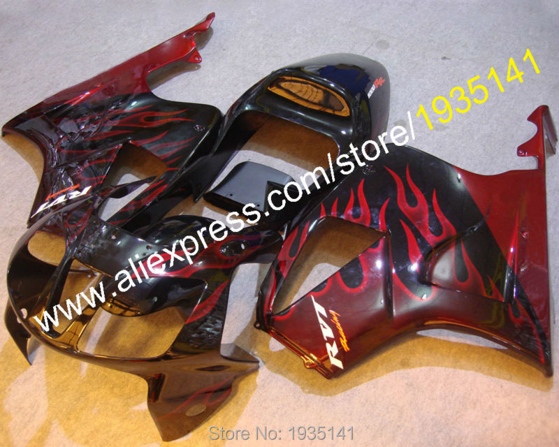 Hot Sales,Flame motorbike part For Honda VTR1000 RC51 2000-2007 VTR 1000 00 01 02 03 04 05 06 07 RVT1000RR ABS red black Fairing