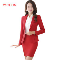 Women Skirt Suits High Quality New Fashion Suits Slim Work Wear Office Ladies Long Sleeve Blazer Costumes For Women With Skirt