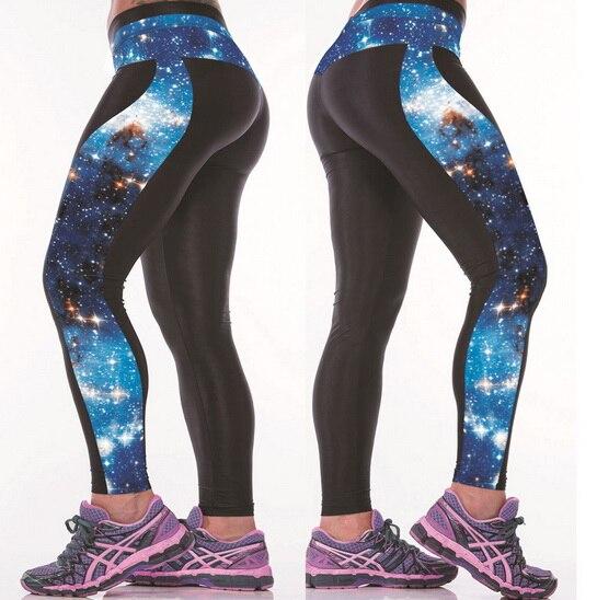 21b49bca90b48 Women Fitness Yoga Pants 3D universe sky Digital Printing Breathable  Absorbent Yoga Leggings Tall Waist Outdoor