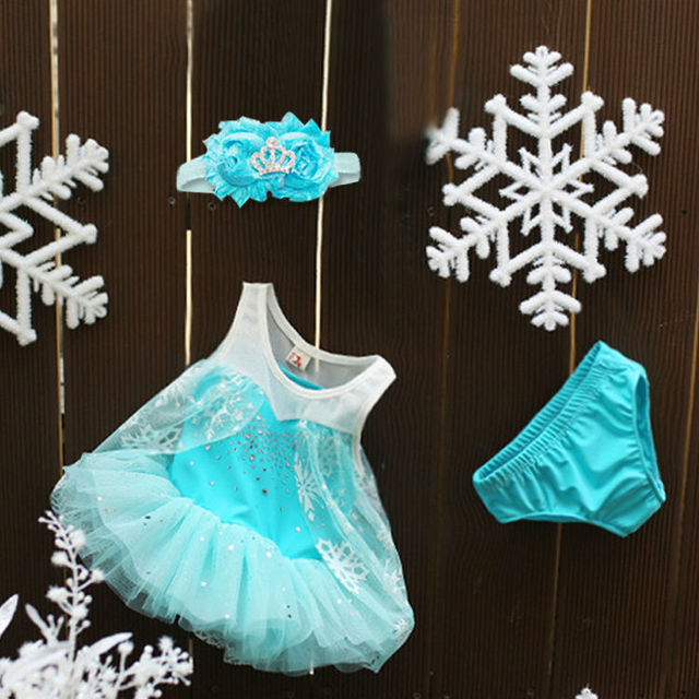 1 2y baby princess party costumes little elsa snowflake blue lace dress suit birthday christmas - Elsa Christmas Decoration