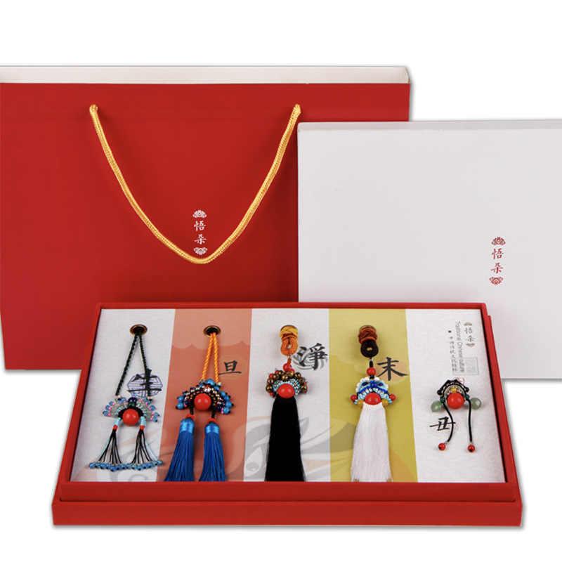 LZJN Пекинская опера маска для лица этническое длинное ожерелье из бисера для женщин Трендовое ювелирное изделие подвеска ручной работы винтажная китайская цепочка