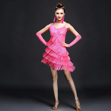 Latin Dance Dress Girls Salsa Samba Tango Ballroom Competition Costume Tassel Dance Dress and Accessories For Women A22