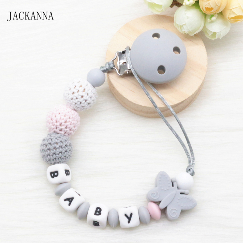 Personalise Name Baby Pacifier Clips DIY Crochet Beads Soother Chain Newborn Attache Sucette Silicone Baby Pacifier Holder Chain