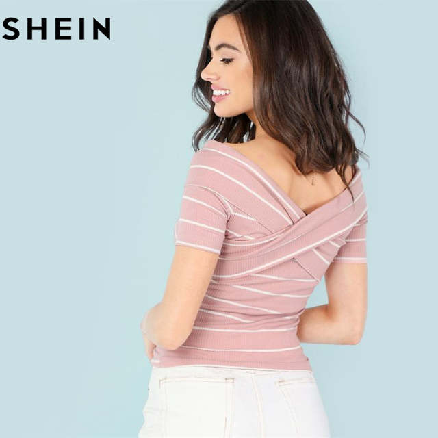 d832b7b2ee SHEIN Crisscross Front Striped Ribbed Tee Women Elegant Off the Shoulder  Short Sleeve Top 2018 Summer