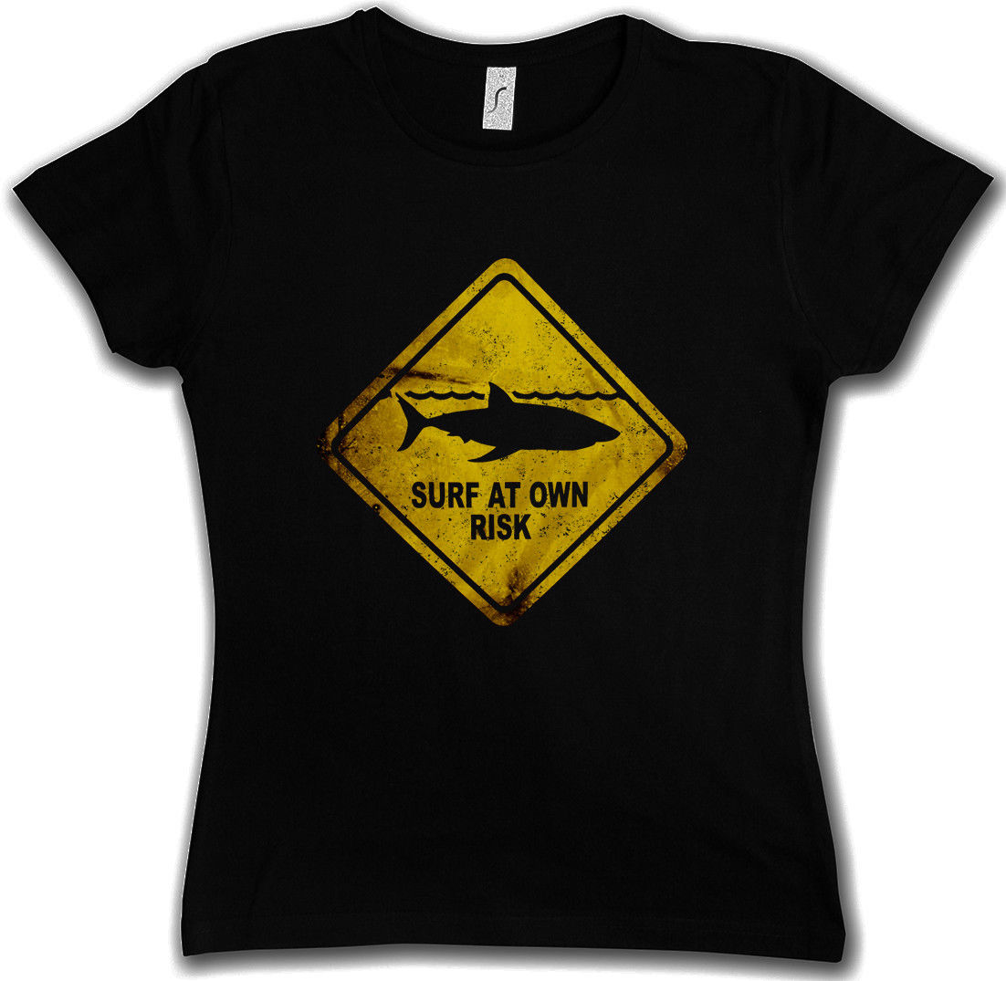 Летом с коротким рукавом Акула предупреждающий знак футболка Surfer Diver taucher челюсти тигр белый убийца