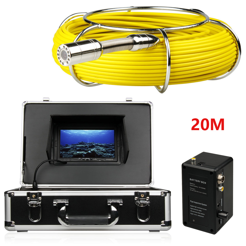 20M Sewer Waterproof Camera Pipe Pipeline Drain Inspection System 7LCD DVR 1200TVL Camera with 12 LED Lights 4GB SD Card duct cleaning sewer pipe camera system equipment for pipeline