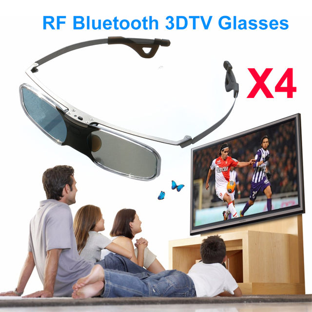 c304938260e 4pcs USB Rechargeable Bluetooth Infrared 3D Active Shutter Glasses for 3LCD  Epson projector Samsung Panasonic Sharp 3D TV