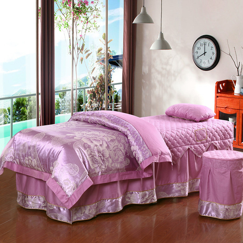 A set color satin beauty bed skirt bed sheet for beauty for Beauty salon bed