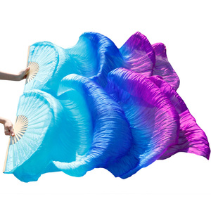 Image 2 - Dance Accessories Belly Dancing Silk Fans Stage Performance 100% Silk Belly Dance Fans Gradient Colorful