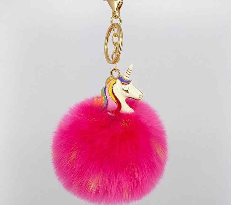 Высококачественная игрушечная лошадь Декоративный металл Единорог брелок плюшевая игрушка подвеска Женская пушистая меховая помпон брелок сумка висячая плюшевая игрушка