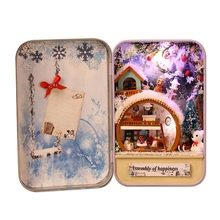 Snow Holiday 3D Wooden Diy Handmade Box Secret Dollhouse Miniature Cute Mini Doll House Assembly Kits Gift Toys