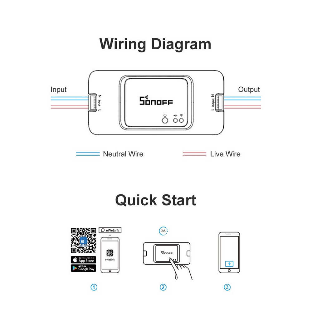 sonoff basic r3/r2 diy wifi wireless switch light timer smart home  google alexa compatible