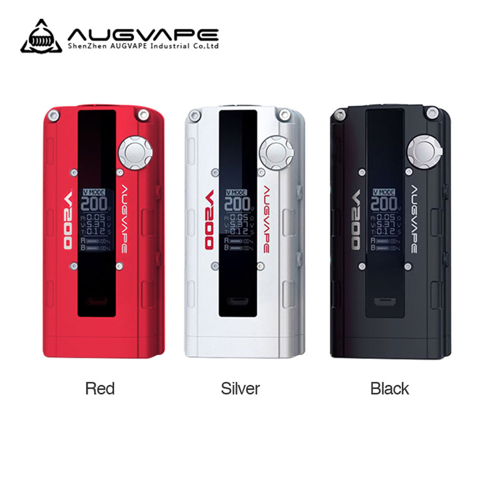200W AUGVAPE V200 VW Box MOD with Normal/Bypass/V Modes Supports 200W Max Output No 18650 Battery VS WYE Mod E-cig Vape Box original augvape v200 200w vw box mod 200w no 18650 battery with oled display electronic cigarette vaping inspired by car engine