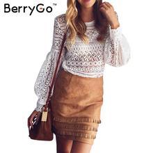 Berrygo Chic белая кружевная блузка рубашка женские пикантные выдалбливают фонарь рукавом Прохладный блузка Осень Элегантный Геометрия blusas короткий топ