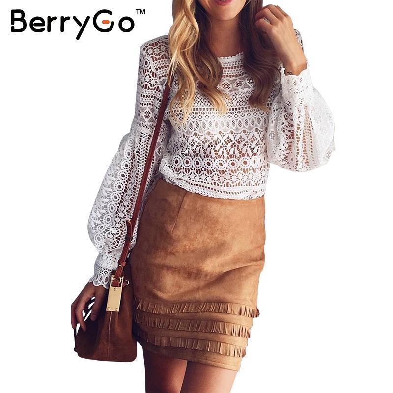 BerryGo Elegante blanco del cordón de la blusa camisa atractiva de Las Mujeres a