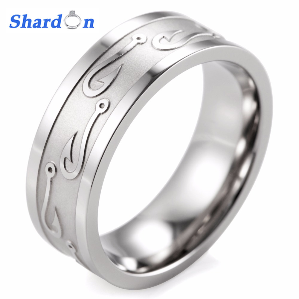 8MM Flat Titanium Carved Textured Fish Hook Ring Hunting Wedding Band