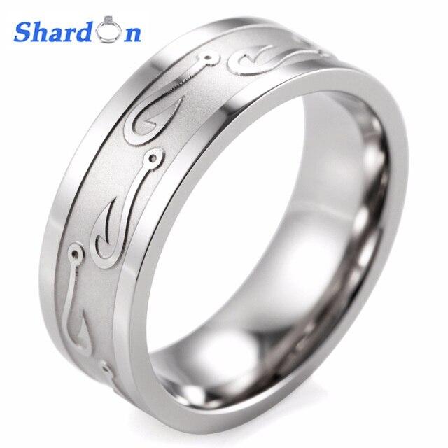 SHARDON engagement Rings round men ring 8MM Flat Titanium Carved