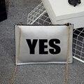 Мара Мечта Мода Нового Прибытия женская сумочка Печати ДА НЕТ сумка сцепления все матч Женского Леди конверт сумка с цепи
