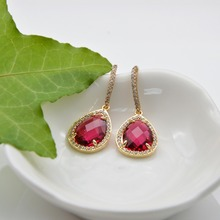 Gold Earrings Red Water Drop Micro inlay Cubic Zircon Dangle for women trendy fashion jewelry making