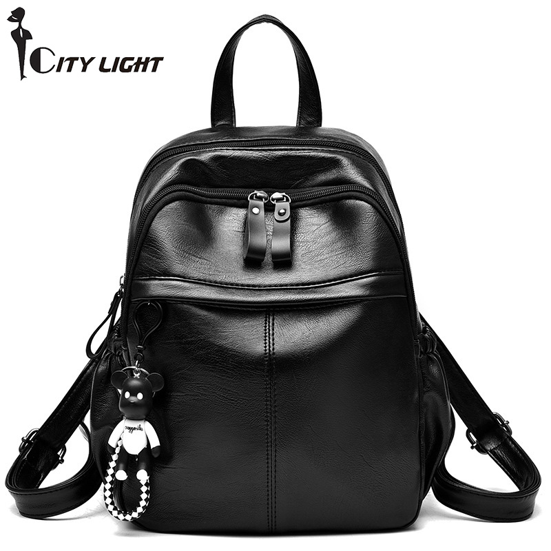 New 2018 Simple Style Backpack Women PU Leather Backpacks For Teenage Girls School Bags Fashion Solid Shoulder Bag Black women backpack large school bags for teenage girls shoulder bag vintage pu leather backpacks black casual solid rucksack xa83h