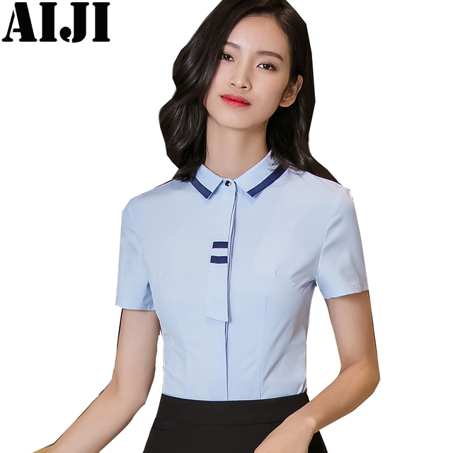 8d932d4564 2018 Summer Formal Elegant Chiffon Blouse Collar Bow Neck Shirt Petal Short  Sleeve Chiffon Tops Plus