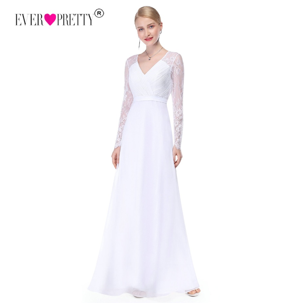 Ever Pretty Illusion Long Sleeve Wedding Dresses Lace A Line V Neck Simple Bridal Dresses 2019