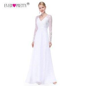 Image 1 - Pretty Illusionแขนยาวชุดแต่งงานลูกไม้สายVคอง่ายชุดเจ้าสาว2020 Vestido Noiva Praia Casamento