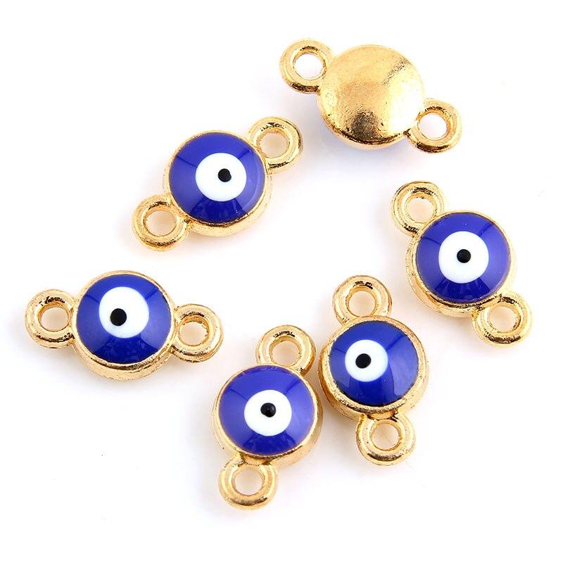 10 pièces émail oeil breloques connecteurs pour Bracelet plaqué or bijoux à bricoler soi-même faisant des accessoires 8x14mm