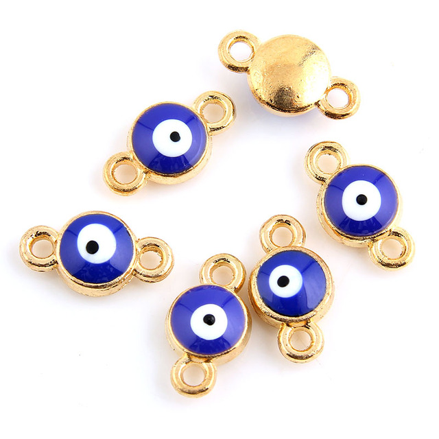 10pcs Enamel Eye Charm Connectors For Bracelet Gold Plated DIY Jewelry Making Accessories 8x14mm