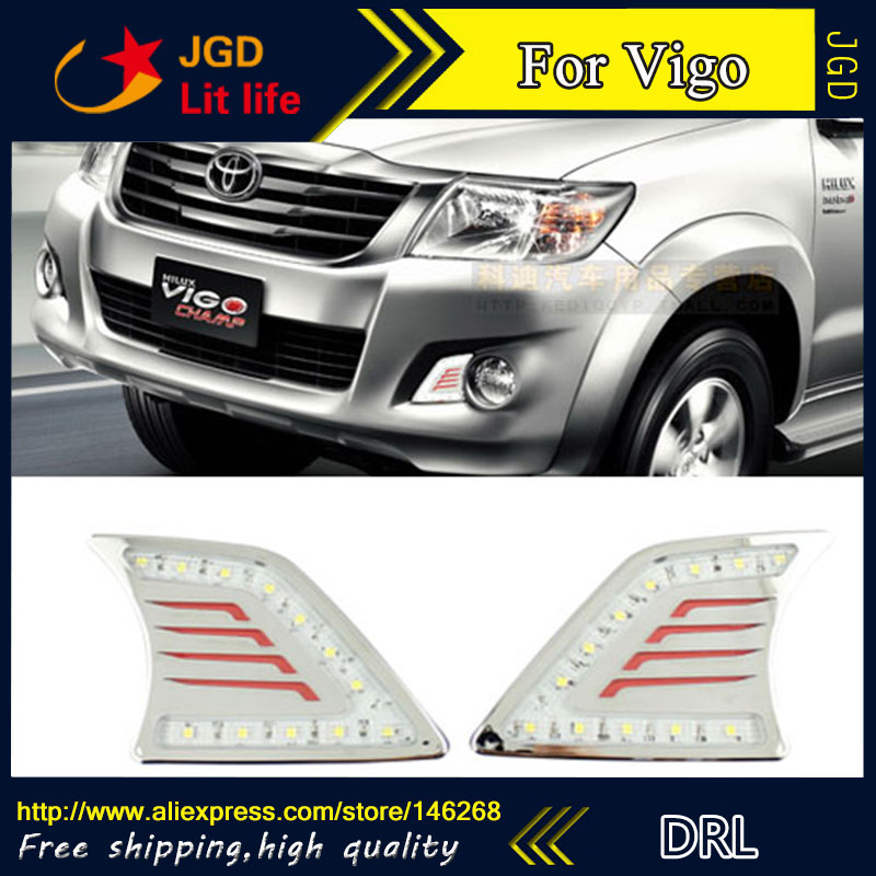 Free shipping ! 12V 6000k LED DRL Daytime running light for Toyota HILUX VIGO 2012 2013 fog lamp frame Fog light Car styling