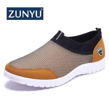 ZUNYU 2019 Summer Mesh Shoe Sneakers For Men Shoes Breathable Men\'s Casual Shoes Slip-On Male Shoes Loafers Casual Walking 38-48