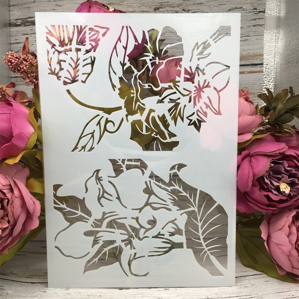 A4 29cm Flowers DIY Layering Stencils Wall Painting Scrapbook Coloring Embossing Album Decorative Paper Card Template