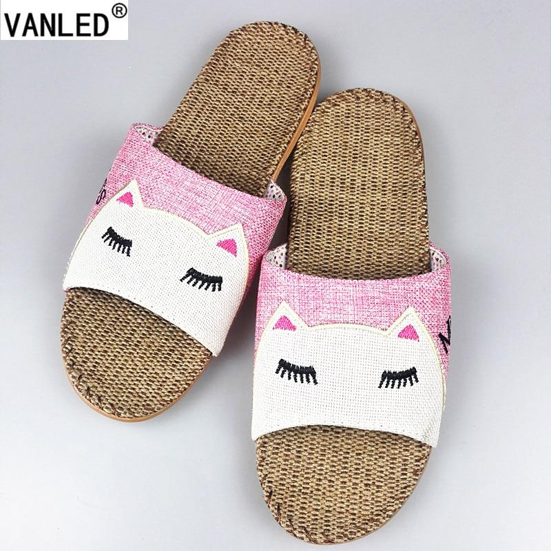 VANLED New Summer Animal Cat Miss Printed Home Linen Slippers Women Indoor Floor Non slip Beach