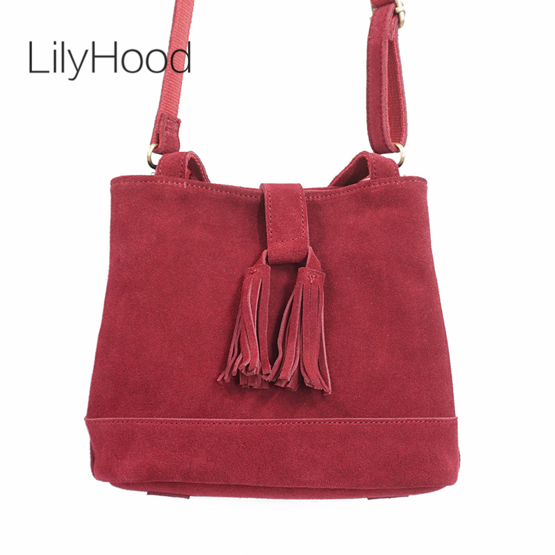 LilyHood 2018 Women Genuine Leather Bucket Handbag Fringe RetroTribal Ethnic Gypsy Bohemian Boho Chic Folk Feminine