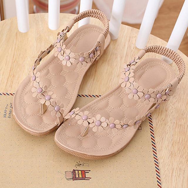 Summer Women Sandals 2016 Fashion Bohemia Women's Shoes Flower Sandalias Femininas Casual Thong Flats Shoes Women