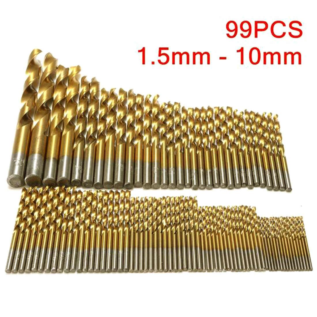 99 Pcs Mata Bor Set 1.5-10 Mm Titanium Dilapisi HSS Mata Bor untuk Kayu Logam Bekerja 30dB untuk Latihan Logam