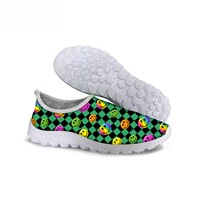ThiKin Comfortable Nursing Shoes Slip On Casual Sneakers 3D Carton Face Women Loafers Air Mesh Comfortable Runing Shoes For Lady