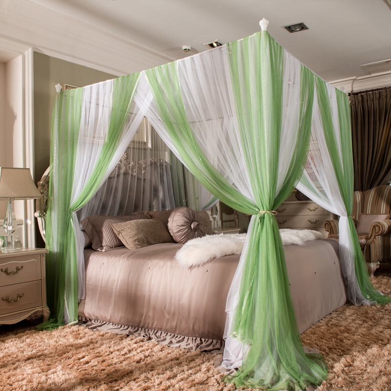 Green/white luxury Romantic Lace Three-door Double Bed mosquito net Have frame Full Queen King Size Home Decoration bedding set