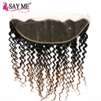 SAY ME Pre Plucked Lace Frontal Closure Brazilian Deep Wave 13 4 Ear To Ear Non