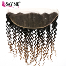 SAY ME Pre Plucked Lace Frontal Closure Brazilian Deep Wave 13*4 Ear To Ear Non Remy Three Tone Human Hair Ombre Blonde 1B/4/27