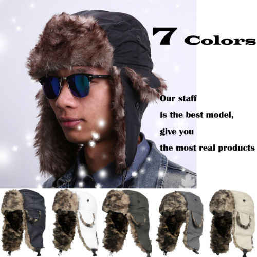 9af3aa886da inter Warm Earflap Bomber Hats Caps Scarf Men Women Russian Trapper Hat  Aviator Trooper Earflap Snow