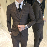 2018 Classic Mens Plaid Dress Suits Fashion Business Banquet Hotel KTV Men Suit Sets Size 2XL Male Jacket with Vest and Pants